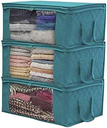 保存袋ベッドの下に厚手のオックスフォード布折りたたみオーガナイザー衣類のダストブランケットキルトでジッパー、ブルー,4pieces