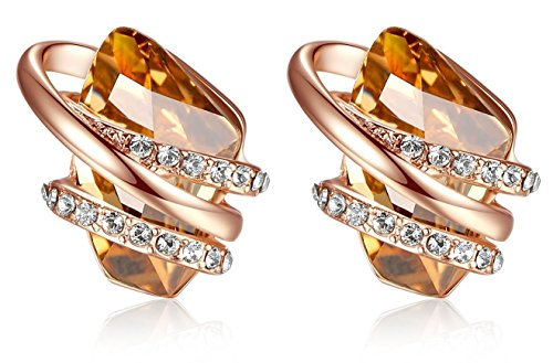 Leafael [Presented by Miss New York] Wish Stone Made with Swarovski Crystals Focal Shape 18K Rose Gold Plated Brown Silk Earrings, Nickel/Lead/Allergy Free, Luxury Gift Box