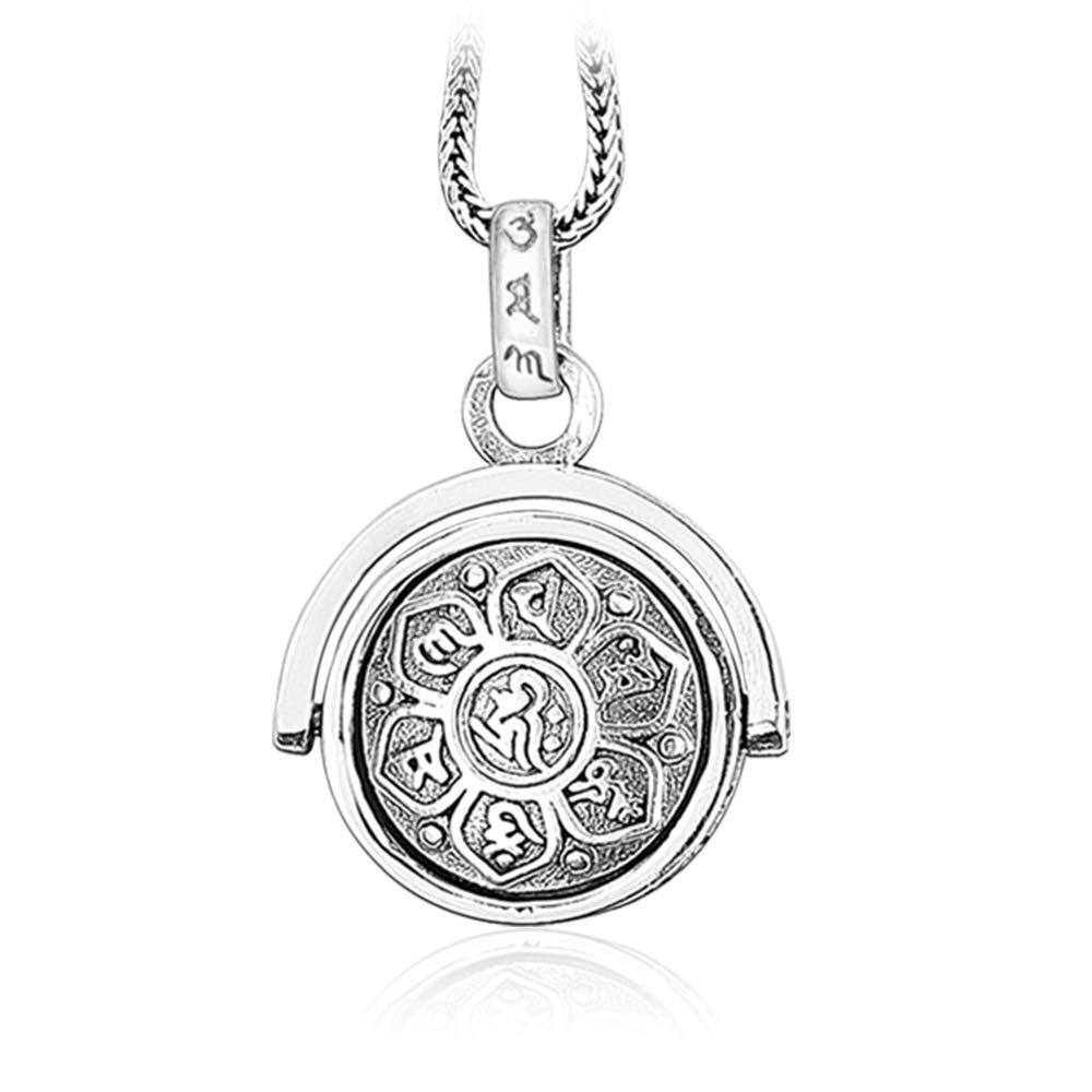 LOVECOM Women's Sterling Silver Pendants Necklaces Retro Charms Jewelry Religion Buddhist Six-Character Proverbs Gifts for Mother (Pendant) (Pendant+24inch Chain)