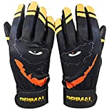 Black and Yellow Smiley Baseball Batting Gloves (Extra Large)