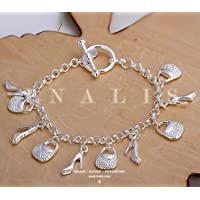 New Women Fashion 925 Sterling Silver Plated Shoes Stylish Bag Bracelets Jewelry