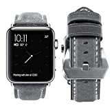 top4cus Genuine Leather iwatch Strap Replacement Band Stainless Metal Clasp, Compatible for 38mm 42mm Apple Watch Series 3 S2 S1 and Sport Edition (42mm,Unique Gray)