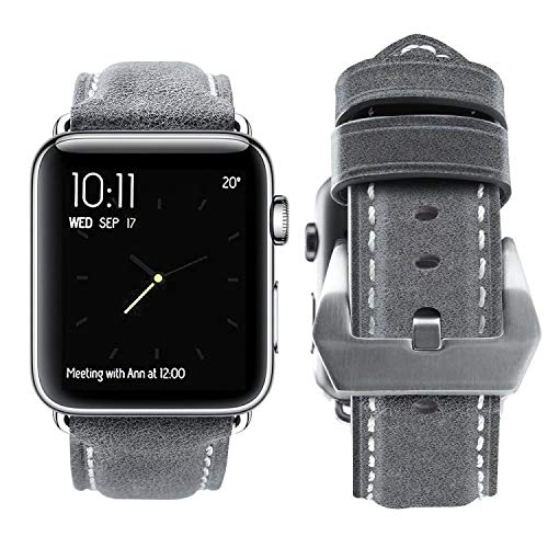 top4cus Genuine Leather iwatch Strap Replacement Band Stainless Metal Clasp, Compatible for 38mm 42mm Apple Watch Series 4(40mm 44mm) S3 S2 S1 and Sport Edition (42mm,Unique Gray)