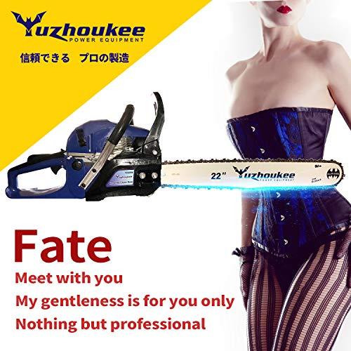 Cheap Yuzhoukee Chainsaw 62cc Gas Powered 18″&22″ Alloy Steel Bar Chain
