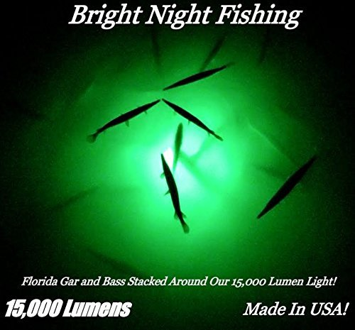 Bright Night Fishing 25ft Cord Battery clamp Under Water Green Led 15000 Lumens Night Fishing 300 LED Green Salt Fresh Water Dock Light Boat Crappie 12v dc (Optional 110v ac) BR:15000