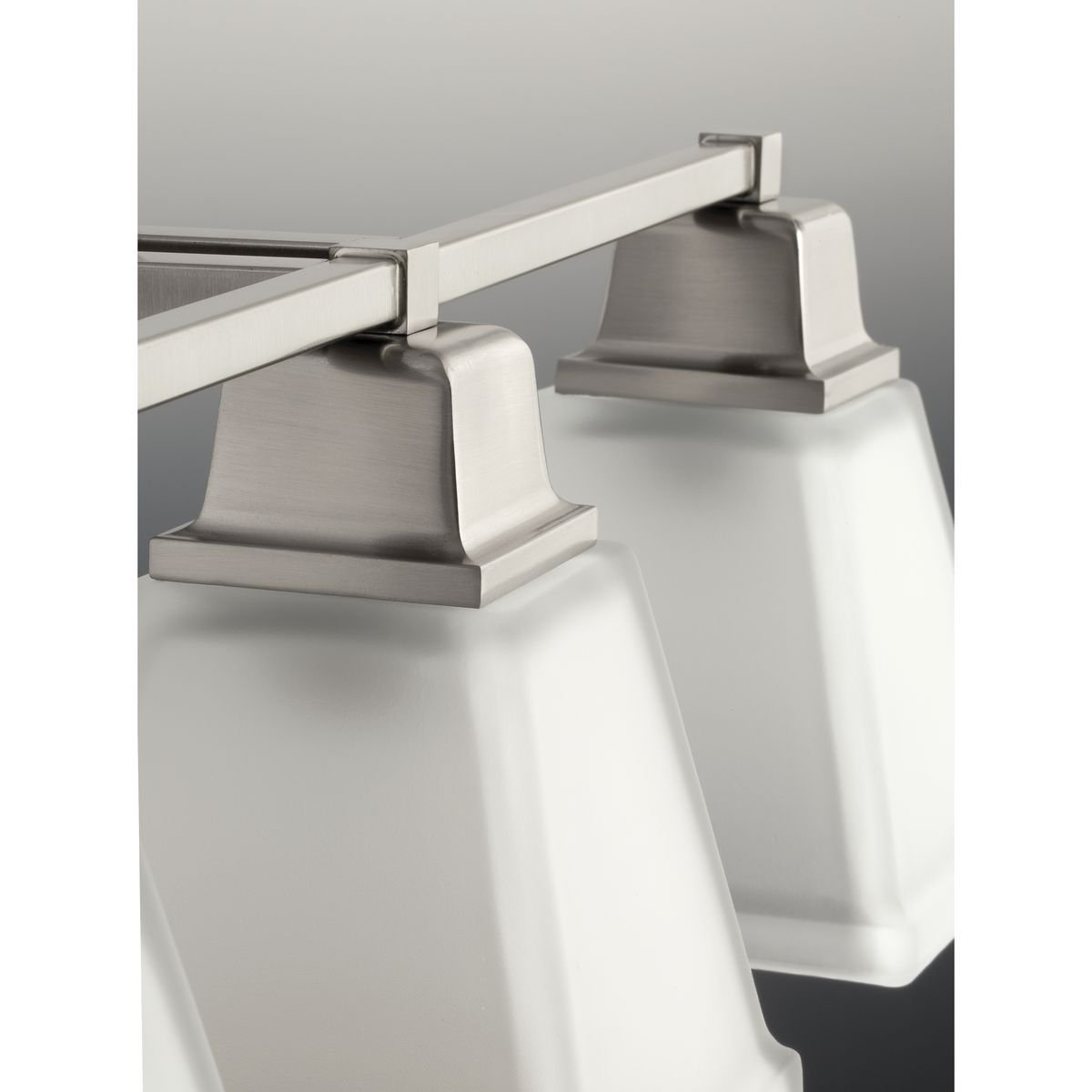 Progress Lighting P2738-09 2-Light Bath Fixture with Square Etched Glass and Can Mount Up or Down, Brushed Nickel