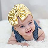 Baby Girls Head Wraps Metallic Messy Bow baby Head Wraps Jersey Knot Headwraps Big Bow Baby Headbands-Random Color