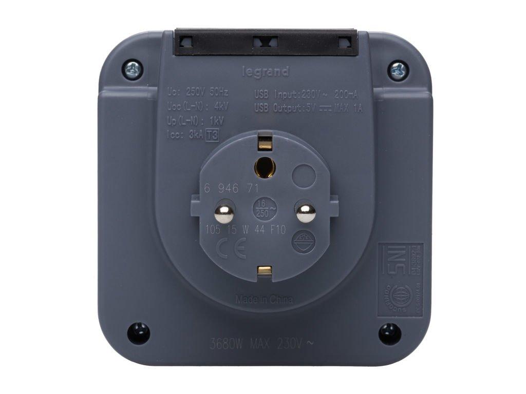 694671 integrierte Smartphone-Halterung und 2 USB-Steckdosen Legrand Lade-Steckdose zum Aufladen von mobilen Ger/äten
