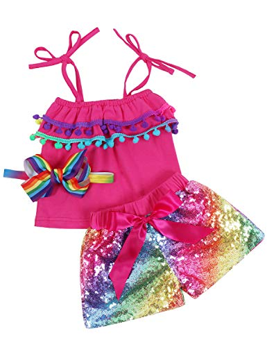 Baby Girls Sequin Shorts Outfits Toddler Kids Sparkle Toddler Rainbow Shirt Halter Pom pom Tops Tassel Glitter Party Baby Shorts Outfits Birthday Headband Hot Pink Rainbow 12 Months