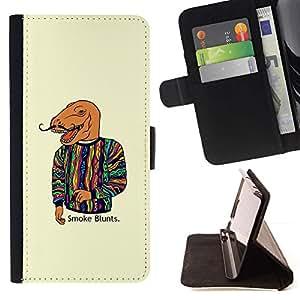 Momo Phone Case / Flip Funda de Cuero Case Cover - Dinosaurio Arte Pintura Cita Humo Moda - Huawei Ascend P8 Lite (Not for Normal P8)