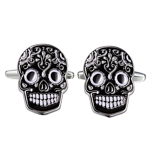 Three Keys Jewelry Stainless steel Black Brass Men's Skull Cufflinks (Stainless Cufflinks Steel Anniversary)