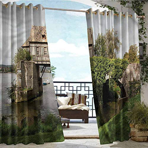 Andrea Sam Balcony Curtains Landscape,Mill Old Bridge Vernon,W96 xL96 Silver Grommet Top Drape (Hawaiian Vernon Flowers)