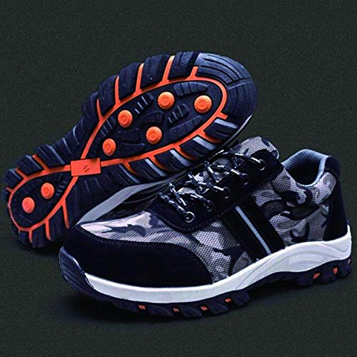 Niome Steel Toe Shoes Indestructible Puncture-Proof Protection with Lace-up Camouflage for Welding Insulation Construction Work Men Women Black & 47 by Niome (Image #4)