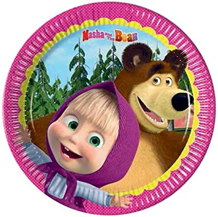 Amazon.com: Masha y el Oso Pequeño Partido Placas (Paquete ...