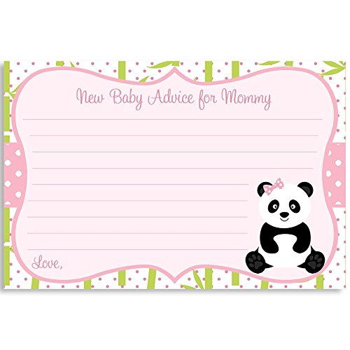Advice For Mommy To Be, Panda Baby Shower, Girl, It's A Girl, White, Pink, Green, Black, Bamboo, Bow, Polka Dots, 24 Printed Cards (Green Cards Dot)
