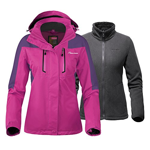 OutdoorMaster Women's 3-in-1 Ski Jacket - Winter Jacket Set with Fleece Liner Jacket & Hooded Waterproof Shell - for Women (Pink,M)