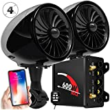 GoldenHawk 600W Amplifier 4 Full Range Waterproof Bluetooth Motorcycle Stereo Speakers 7/8-1.25 in. Handlebar Mount Music Player Audio Amp System Harley Touring Cruiser ATV UTV Jet Ski