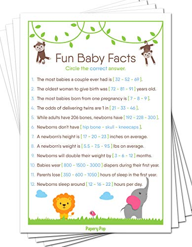 Fun Baby Facts Game Cards (Pack of 50) - Baby Shower Games Ideas For Boy or Girl - Party Activities Supplies - Safari Jungle Zoo Animals