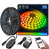 MINGER DreamColor LED Strip Lights Built-in IC with APP, 16.4ft/5m LED Lights Sync to Music, Waterproof RGB Rope Light APP, 150 LEDs SMD 5050 Flexible Strip Lighting for Home Desk DC 12V UL Listed