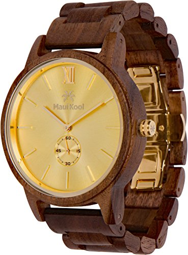 Wooden Watch For Men Maui Kool Kaanapali Collection Analog Large Face Wood Watch Bamboo Gift Box (C1 - Gold Face)