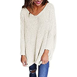 RooZooe Women's Oversized Knitted Sweater V Neck Blouse Loose Jumper Pullovers White Large
