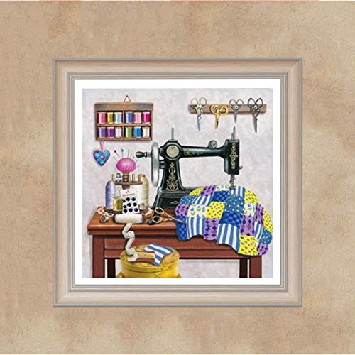 Ss-Lqlhy Sewing Machine Cross Stitch Craft DIY Mosaic Full Round Diamond Painting - Machine Diamond Sewing