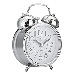 WillowswayW Classic Retro Mini Clock Silent Double Bells Quartz Movement Bedside Table Alarm Clock
