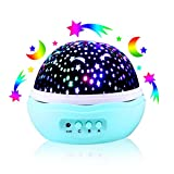 [Wall Adapter Included] Star Moon Projector, 360 Degree Rotational LED Night Light with 8 Light Modes - Perfect for Bedroom, Baby and Kid's Room