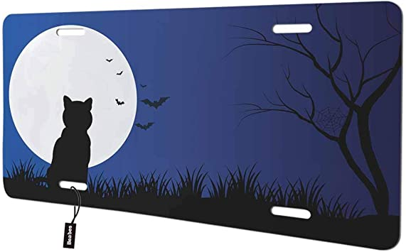 Aluminum License Plate Vanity Tag Front License Plate Cat on The Treetop Enjoys The moon Antique Auto Tag 6x12 Aluminum Vintage Sign