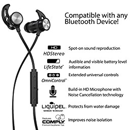 Phaiser BHS-730 Bluetooth Headphones Runner Headset Sport Earphones with Mic and Lifetime Sweatproof Guarantee - Wireless Earbuds for Running, Blackout