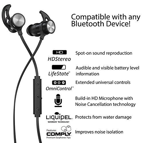 Phaiser BHS-730 Bluetooth Earbuds Runner Headset Sport Earphones with Mic and Lifetime Sweatproof Warranty - Wireless Headphones for Running, Blackout