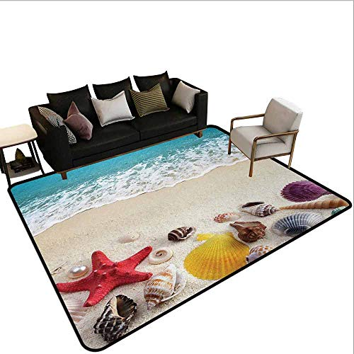 - Office Marshal Carpet Chair Beach,Sea Shells on Sandy Coast Tropical Island Shore Summertime Travel Vacation Picture,Multicolor