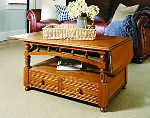 American Tapestry Coffee Table with Drop-Leaf in Ginger Oak
