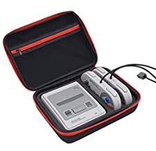 Esimen SNES Classic Mini Case – Premium Quality Hard Travel Carrying Bag for Nintendo Super SNES Classic Edition Console and Accessories - Best Game Travel Box Protection box (Black+Red)