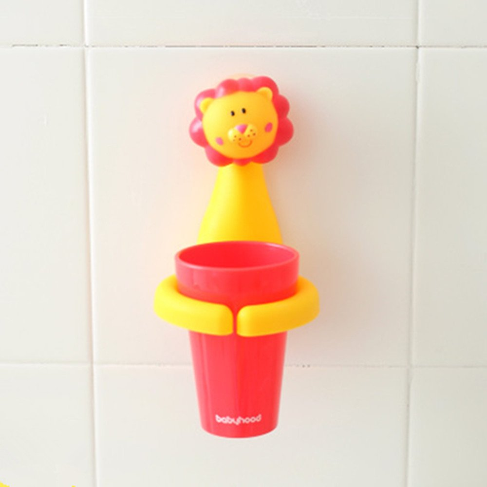 Animal Cartoon Children Toothbrush Holder Suit, Creative Candy Color Wall Suction Hanging Mouthwash Cup Food-Grade Material (Lion)
