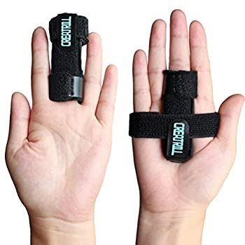 Creatrill Trigger Finger Splint Plus Two Support Bands with Hook&Loop, finger Brace for Straightening Curved, Bent, Locked & Stenosing Tenosynovitis Hands - Tendon Release & Stiffness Pain Relief