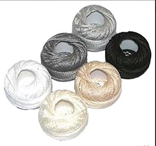 (Presencia Pearl Cotton Thread Sampler - Sashiko, Embroidery & Quilting - Neutral Sampler - Size 8 - 6 Colors - 77 yard)