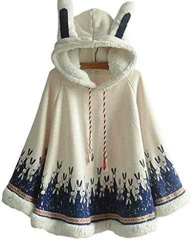 Aza Boutique Women's Cute Cotton Blend Rabbit Ears Hooded Cape