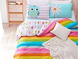 Rainbow Owl Bedding Set Modern Flower Floral Twin Size Stripe Bed 100% Cotton