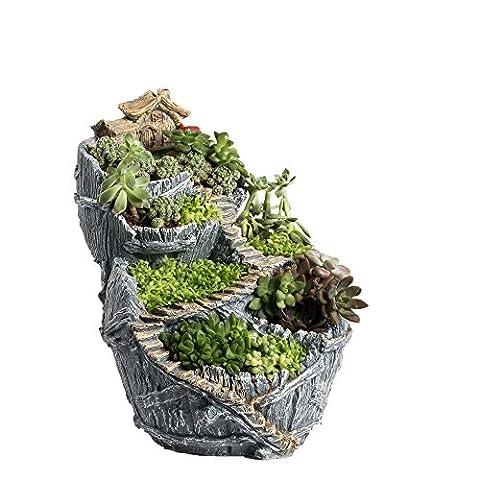 NCYP Fairy Garden Miniature Broken Bucket Flower Pot Sweet House Cottage Vertical Sculpture Planter Grey for Decoration No (Large Flat Planter)