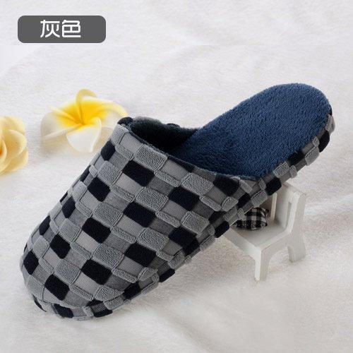 Y-Hui Bump zapatillas, zapatillas de algodón, cuadrado de color casa remolque algodón,3839,gris