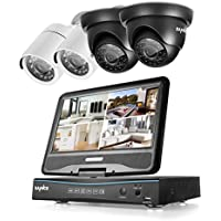 "SANNCE 4CH All-in-One 720P DVR with 10"" LCD Monitor Security Camera System with 4 Weatherproof Indoor Outdoor Day Night Vision Video Surveillance Camera Plug and Play (No HDD)"