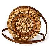 Womens Rattan Woven Crossbody Bag Weave Handbag Handwoven Tote Bag with Bow Clasp