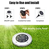 |Solar Ground Lights 8 Pack| 8LED Solar Disk Lights Outdoor,Waterproof,In ground Solar Garden Lights for Pathway Lawn Yard Roads Walkway Driveway - Cold White