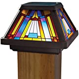 Moonrays Post Cap Lamp In Stained Glass Design (6x Brighter Solar Powered LED) (Renewed)