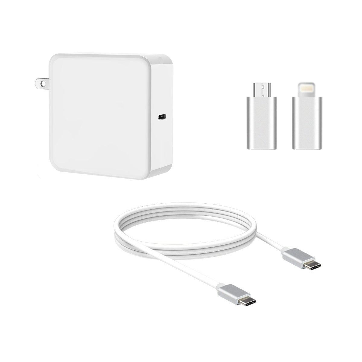65W Type-C AC Charger Power Supply Adapter Cord For Apple Macbook/Dell/Xiaomi air/Huawei Matebook/HP Spectre/Thinkpad Nintendo Switch, Type C laptops, Type C Smart Phones (white)