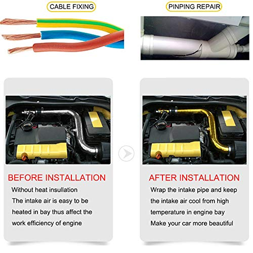 TOOGOO Reflect A Gold Thermal Tape Air Intake Heat Insulation Shield Wrap Reflective Heat Barrier Self Adhesive Engine