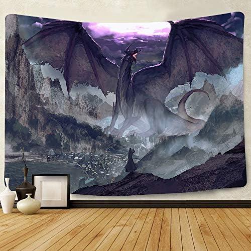 Simsant Anime Manga Tapestry Wall Hanging Dragon Warrior Fantasy Digital Blanket Backdrop for Bedroom Living Room Dorm Dormitory Wall Decor 80×60 Inch SIZY0766