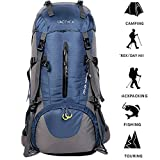 ONEPACK 50L(45+5) Hiking Backpack Travel Daypack Waterproof Backpack Outdoor Sports Daypack with Rain Cover for Climbing Camping Mountaineering Fishing Traveling Cycling Skiing (Blue)
