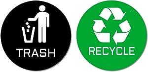 "2 Premium Quality Trash & Recycle Stickers (1 Trash Sticker + 1 Recycle Sticker) for Use on Trash Cans & Recycle Bins; 4"" Round (Black Trash & Green Recycle)"